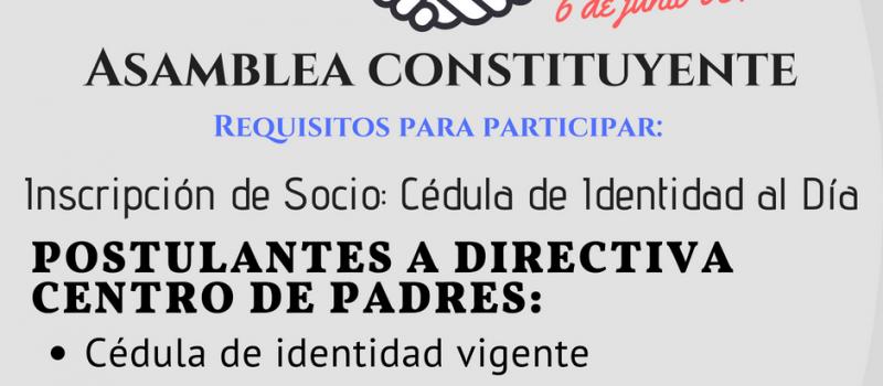RECORDATORIO, ASAMBLEA CONSTITUYENTE.