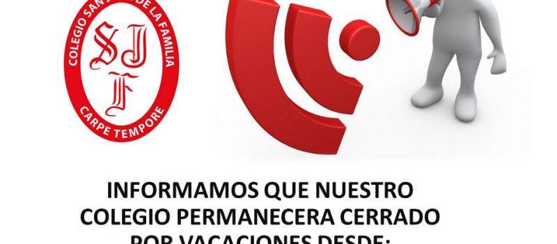 28-01-2019 AL 11-02-2019 CERRADO POR VACACIONES
