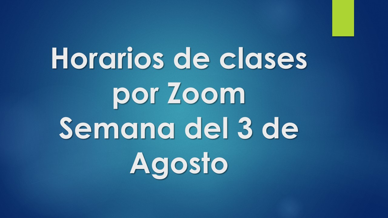 Horarios de clases por Zoom
